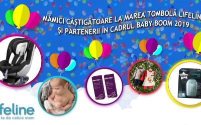 Mămici câștigătoare la Marea Tombolă Lifeline și partenerii în cadrul Baby Boom